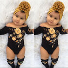 US 3PCS Newborn Baby Girl Off Shoulder Flower Romper Leg Warmers Outfits Clothes