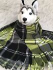 LIME BLACK PLAID,Fuzee Fleece Dog Blankets,Soft Pet Blanket Travel Throw Cover