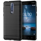 For Nokia 8 7 6 5 8.1 7.1 6.1 5.1 3.1 Slim Fiber Carbon Silicone TPU Cover Case