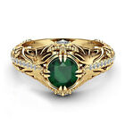 Gift Size 6-10 14k Gold Plated Zircon Gemstone Emerald Ring  Engagement Wedding