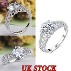 Fashion Women Princess Zircon Crystal Ring Silver Plated Wedding Rings Jewelry