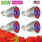 30W E27 LED Grow Light Bulbs Full Spectrum for Indoor Plants Hydroponic Growing