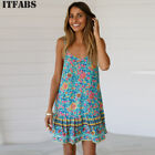 Women&#039;s Boho Floral Chiffon Summer Party Evening Beach Short Mini Dress Sundress <br/> ❤UK STOCK ❤FAST DELIVERY ❤EASY RETURN❤High Quality