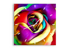 WALL CLOCK - CLOCK ON GLASS flower color rose 3623 UK