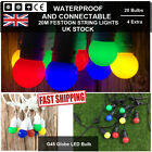 20m Extendable Black/White Festoon String Lights With bulbs Garden Outdoor Party