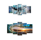 5 Panels Abstract Blue Whale Picture Wall Art Painting for Home Decoration