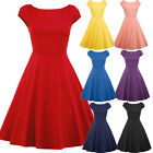 Womens Vintage 50s 60s Rockabilly Retro Swing Pinup Skater Evening Party Dress