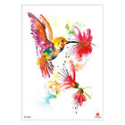 Watercolor Temporary Tattoo Bird Cage Flowers Sticker Designs Fake Beauty Decals