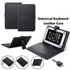 "US For 7"" - 8"" Tablet eReader Black PU Leather Case Cover W/ Micro USB Keyboard"