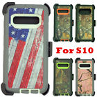 For Samsung Galaxy S10 Defender Camo Case With/ Belt Clip Holster Fits OtterBox