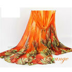 Fashion Women Voile Floral Scarf Wrap Lady Long Shawl Large Silk Scarves Stole