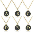 Fashion Initial Alphabet 26 Letter A-z Chain Necklace Gold Plated Black Enemal