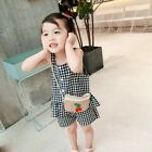 Baby Girl Casual Summer Stitching Plaid Print Cotton Sling Tops Short Pants Set