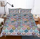 Colorful Mermaid Scale Print Bedding Set Duvet Cover Comforter Cover Pillow Case