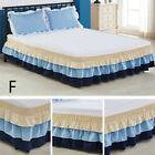 Ruffle Wrap Bed Skirt Elastic Three-layer Cake Bedding Dress Color Matching Cute