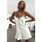 Womens Frill Sleeveless Strappy Short Playsuit Sundress Ladies Romper Size 6-16