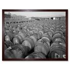 Vintage Industrial Olive Oil Barrels Portugal 12X16 Inch Framed Art Print