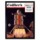 Science Magazine Cover Colliers Man Moon Ship Craft 12X16 Inch Framed Art Print