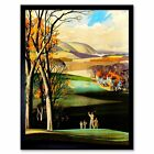 Painting Landscape Sport Golf Course Drive Green Clubhouse Uk Framed Art Print