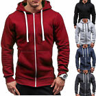 Men's Whole Zip Up Hoodie Classic Winter Hooded Sweatshirt Jacket Coat Top Tops