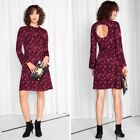 & Other Stories Red Leopard Fit Flare Dress Long Sleeve Cut Out Size 4, 8,10 NWT