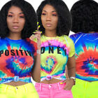 Women short sleeves colorful letter print casual club summer tops t -shirt