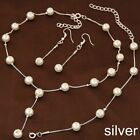 Wedding Women Charm Pendant Chain Pearl Necklace Earrings Bracelet Jewelry Sets