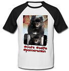 POMERANIAN BLACK SELFIE - NEW COTTON BASEBALL TSHIRT