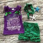 US Toddler Kids Baby Mermaid Girl Clothes Tank Tops + Pants+Headbands Outfit Set