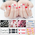 Nail Tips with Glue Sticker Detachable Full Cover Fake Mixed Pattern Nail Tools