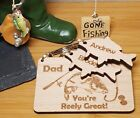 PERSONALISED FATHERS DAY GIFT DADDY GRANDAD GIFTS FOR HIM KEYRING CARP FISHING