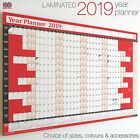 LAMINATED 2019 Year Planner Calendar Wall Chart Annual✔RED✔Stickers✔Dry Wipe Pen