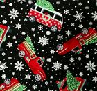 Christmas Trees Red Trucks VW Vans Cotton Quilt Fabric Timeless Treasures