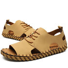 Mens Handwork Flat Heels Open Toe Outdoor Lace Up Real Leather Beach Shoes Hot