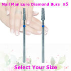 5x Diamond Nail Manicure Pedicure Cuticle Remove Flat End Taper Bur Bit Drill