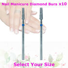 10x Diamond Nail Manicure Pedicure Cuticle Remove Flat End Taper Bur Bit Drill