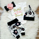 Kyпить 4PCS Newborn Baby Girl Kid Tops Romper Floral Pants Headband Outfits Set Clothes на еВаy.соm