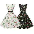 Womens 50s 60s Vintage Floral Printed Rockabilly Swing Midi Dress With Belt