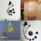 3D Mirror Butterfly Flower Clock Wall Sticker Wall Decal Removable Home Decor