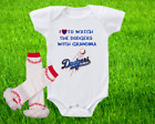 Los Angeles Dodgers Outfit Onesie And Ruffle Leggings Set Watching WIth Grandma on Ebay