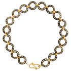 1.99 Natural Diamond Chain Bracelet 925 Sterling Silver 14k Yellow Gold Jewelry