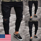 Stylish Men's Ripped Skinny Jeans Destroyed Frayed Slim Fit Denim Pants Trousers