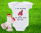 Cleveland Indians Outfit Onesie And Ruffle Leggings Set Watching WIth Daddy on Ebay