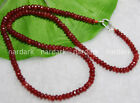 2x4mm Brazil Red Ruby Faceted Rondelle Gems Beads Necklaces Silver Clasp 16-28''