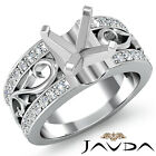 0.55Ct. Asscher Diamond Fashion Wedding Ring Filigree Shank Semi Mount Setting