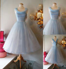 Vintage Blue 1950's Short Cocktail Prom BALL Tea Length Cinderella Party Dress