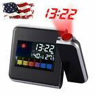 Projection Digital Weather LCD Snooze Alarm Clock Color Display With LED Backlit