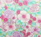 Packed Roses Butterflies Pear Green Pink Purple Teal Cotton Chintz Fabric