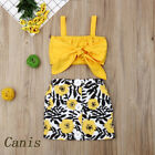US 2PCS Toddler Kids Baby Girl Bow Vest Tops+Flower Skirt Casual Outfit Clothes
