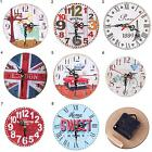EE_ EG_ HK- Wooden Round Analog Quartz Wall Clock Living Room Bedroom Office Dec